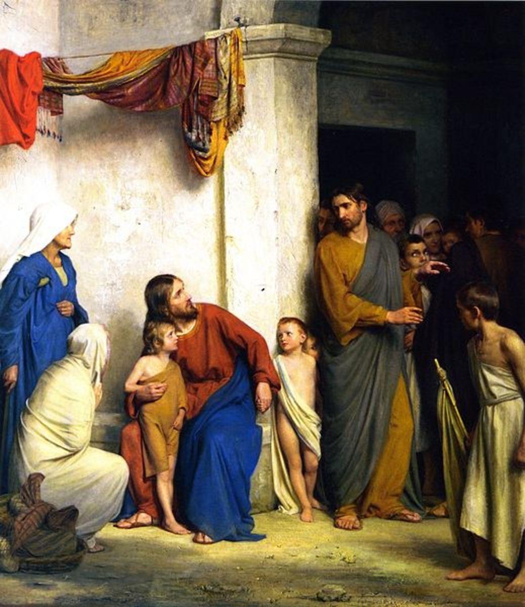 File: Let the Little Children Come unto Jesus.jpg     Author: Carl Heinrich Bloch (1834-1890) CC-PD-Mark)