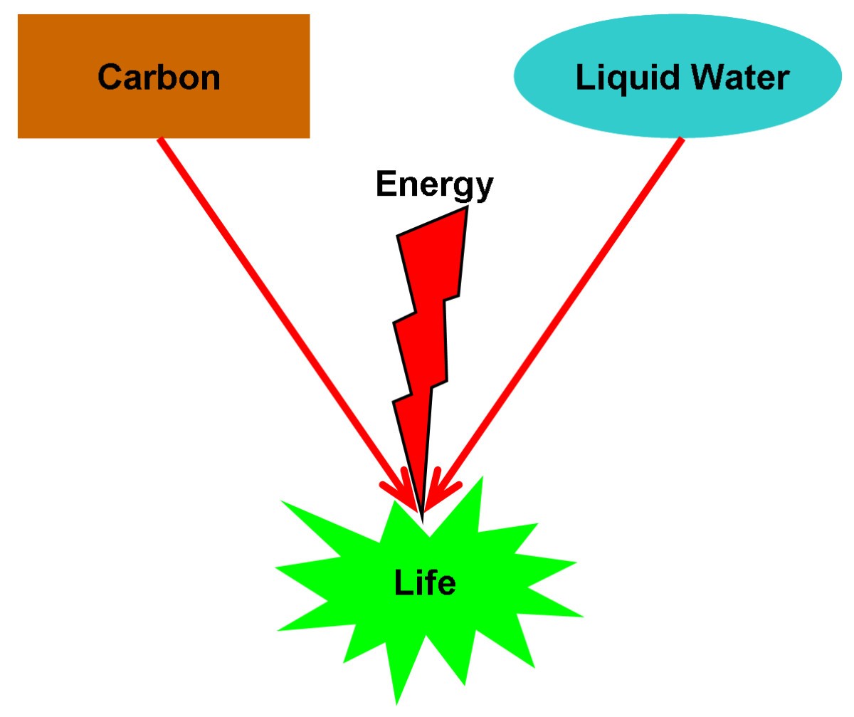 A diagram showing a streamlined example of Abiogenesis, where carbon and liquid water, when in the presence of energy, can form the simplest form of life.