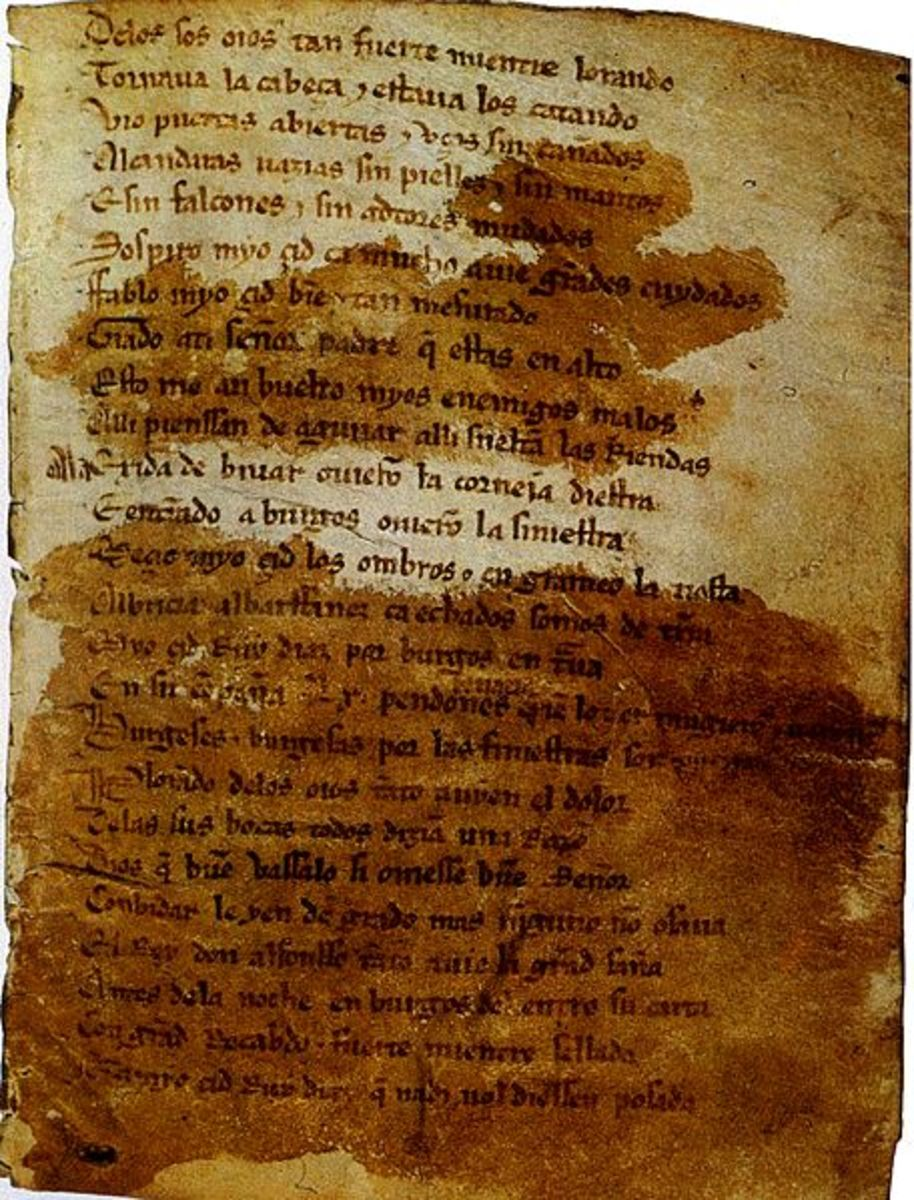 Existing  manuscript of El Cid.  Today, it can be seen in the National Library in Madrid, Spain.