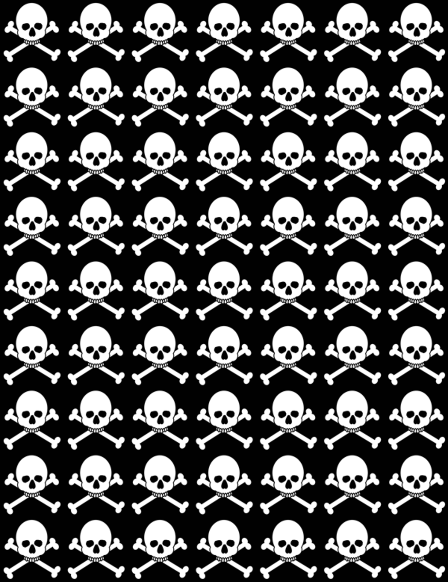 Black and white skull and crossbones Halloween pattern.