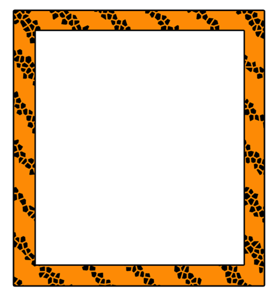 Clip art frame with orange and black Halloween colors.