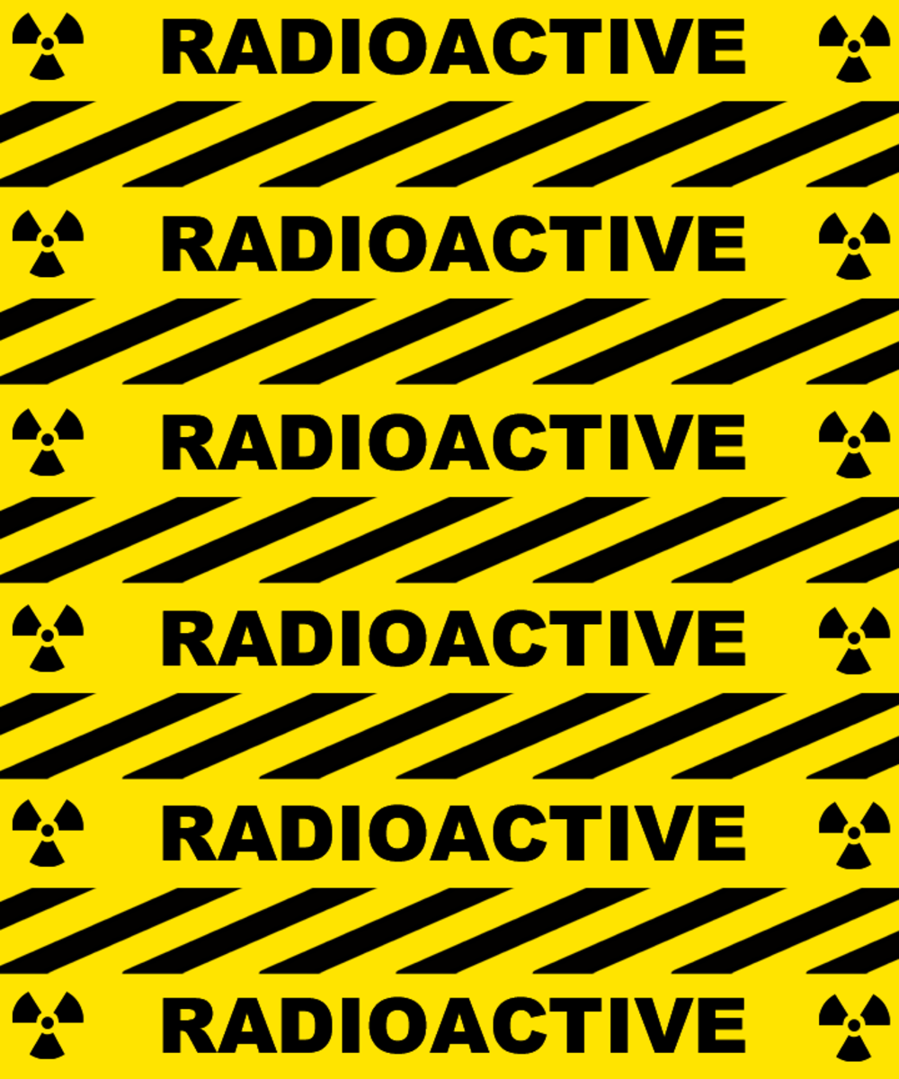Yellow and black RADIOACTIVE warning scrapbook pattern.