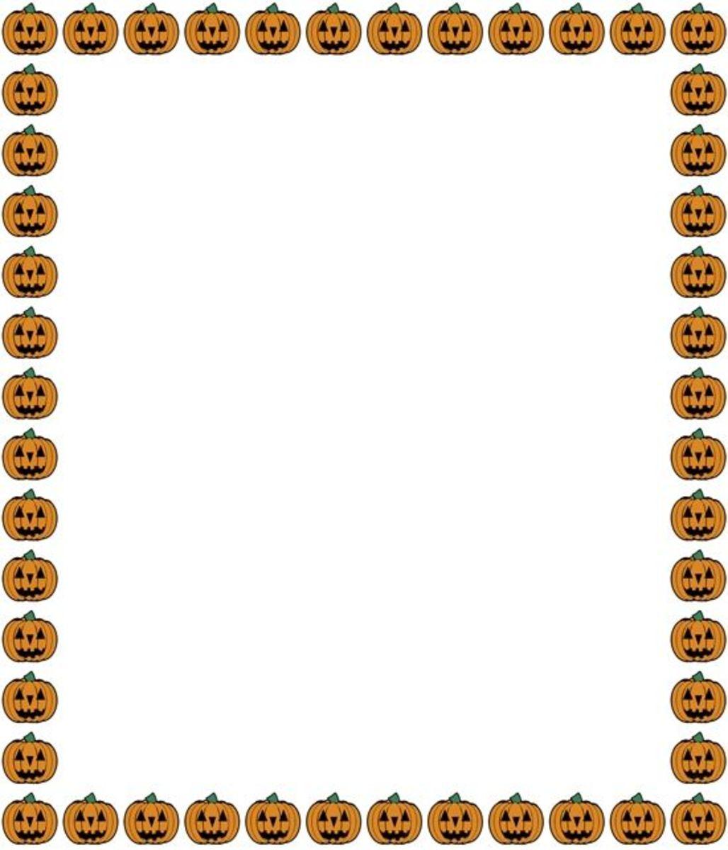 Jack-o-Lanterns Halloween clip art frame.