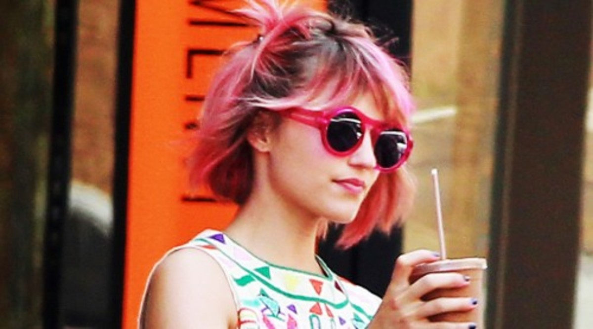 Dianna Agron with Short Ombre Pink and Brown Hair