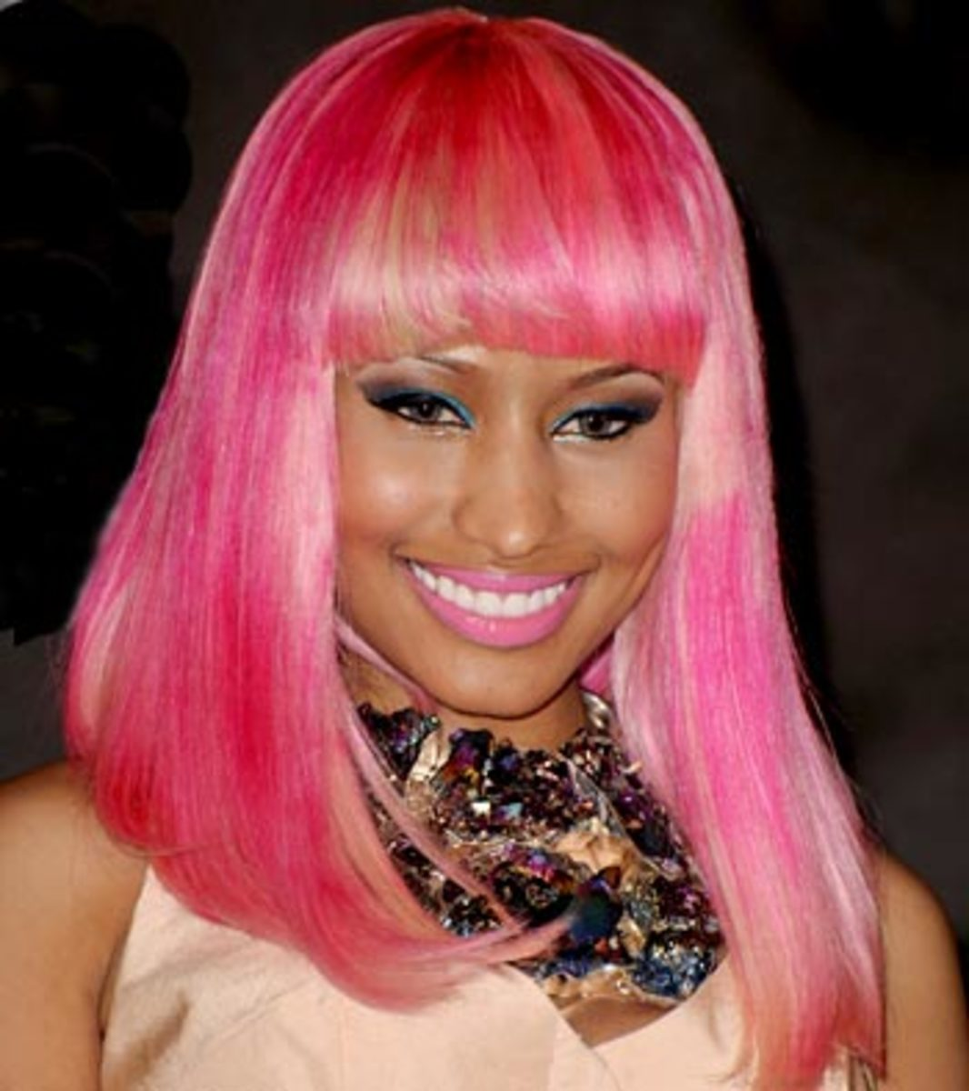 Nicki Minaj in a Pink and Blonde Wig
