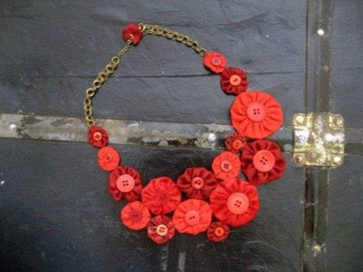Fabric YoYo Necklace