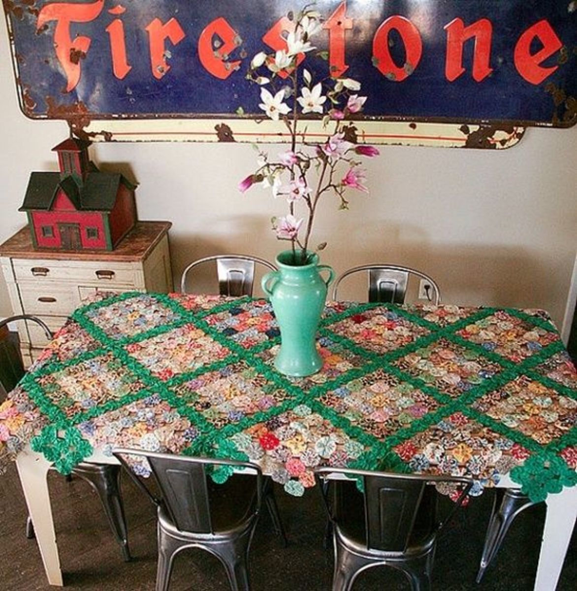 Fabric YoYo Tablecloth Vintage via Etsy