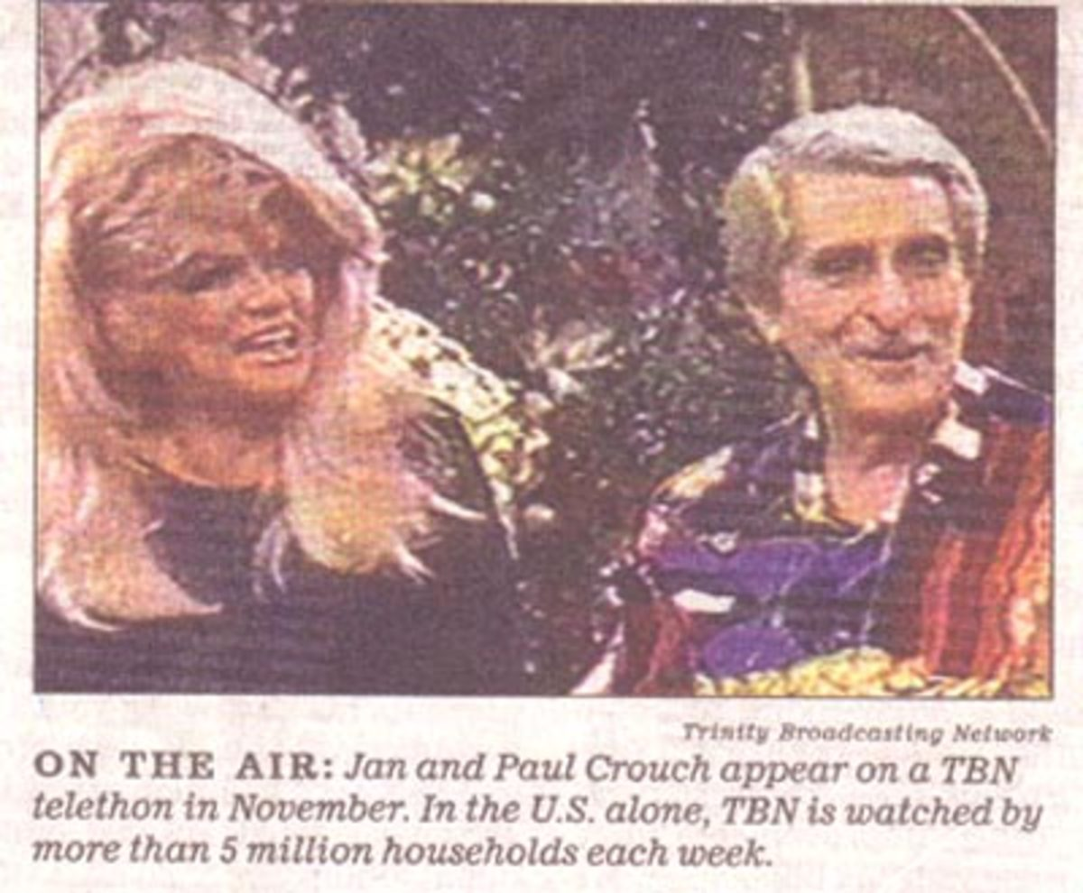 "Jan and Paul Crouch- leaders of the Trinity Broadcasting Network during the ""Sounds of Hell Ministry"""