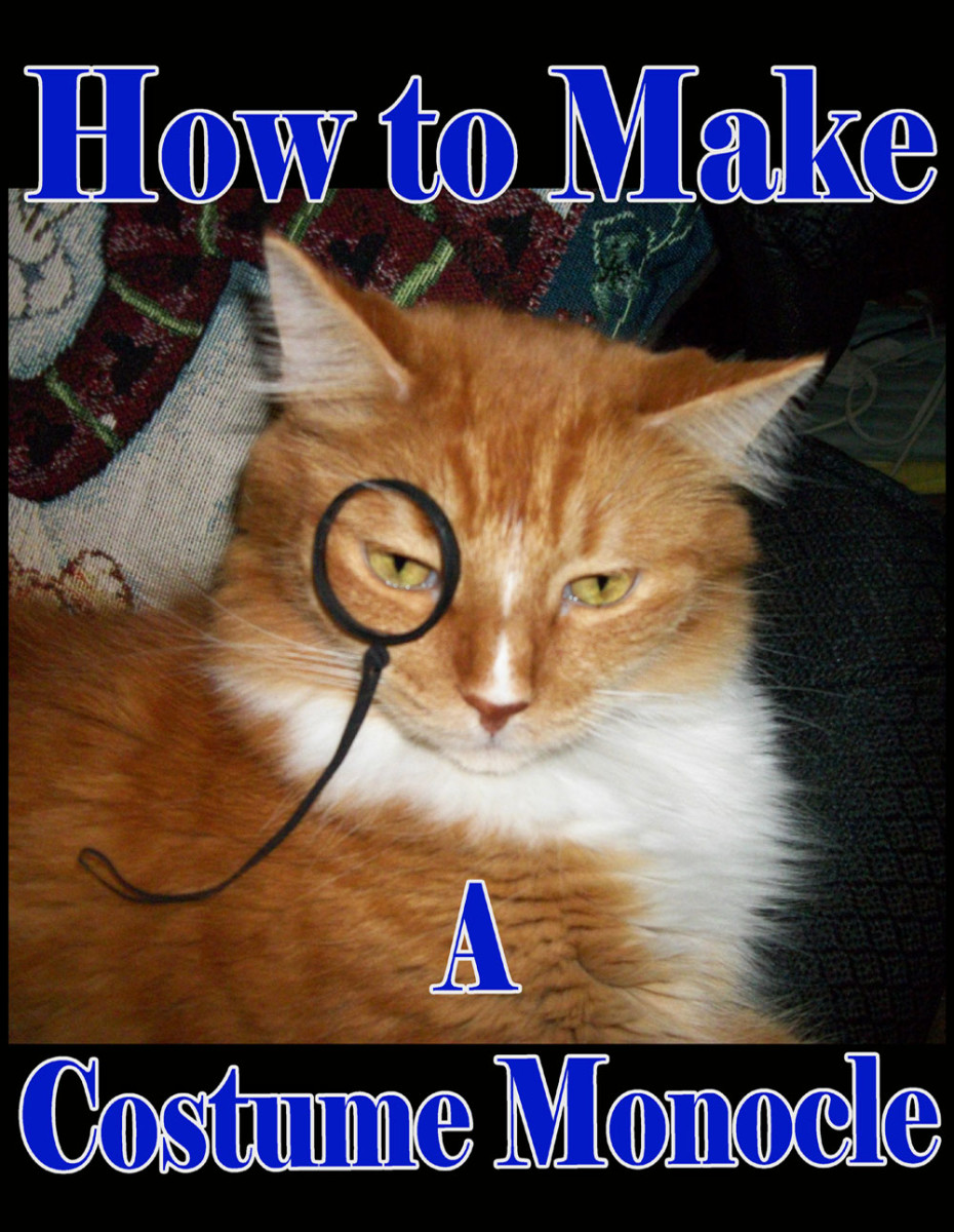 Handsome ginger cat wearing a prop fake monocle