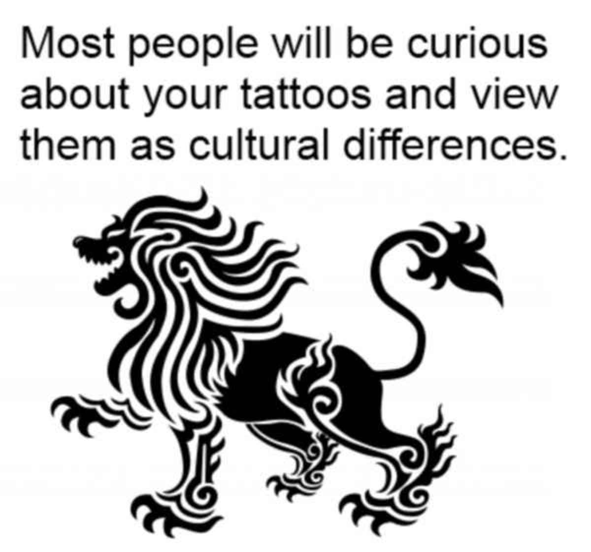 A lion design tattoo.