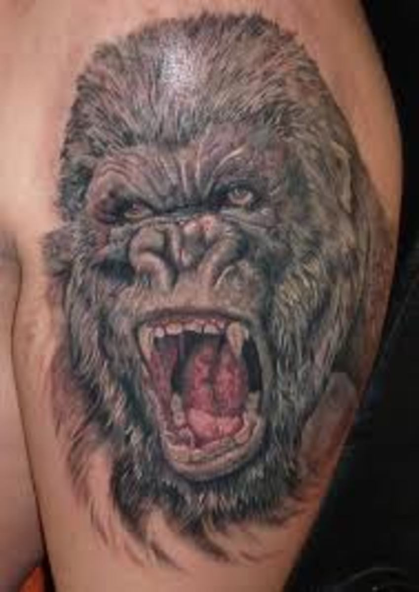 gorilla tattoos and designs gorilla tattoo meanings and ideas gorilla tattoo pictures hubpages. Black Bedroom Furniture Sets. Home Design Ideas