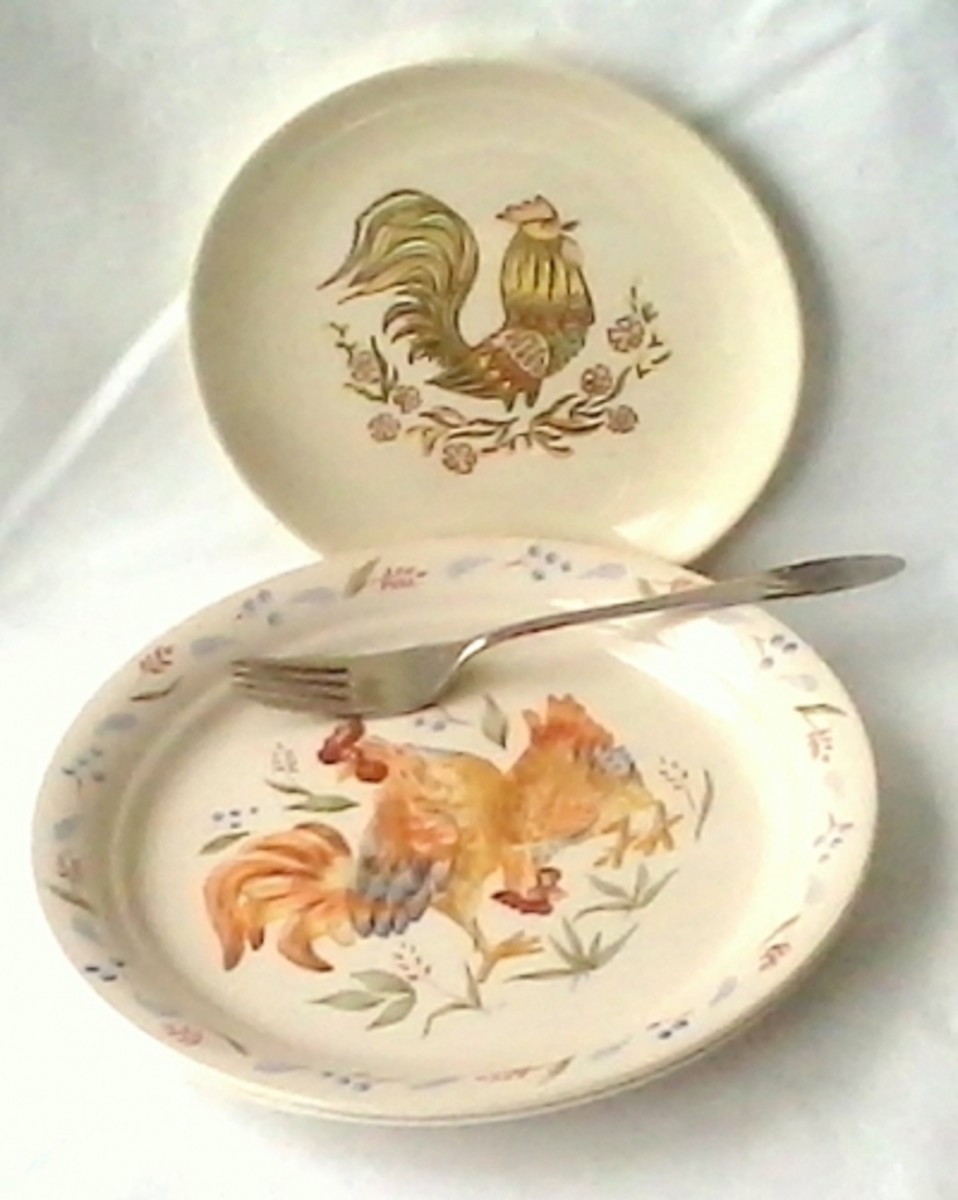 Vintage And New Dishes - Top plate is the Rooster pattern by Taylor, Smith & Taylor (vintage)