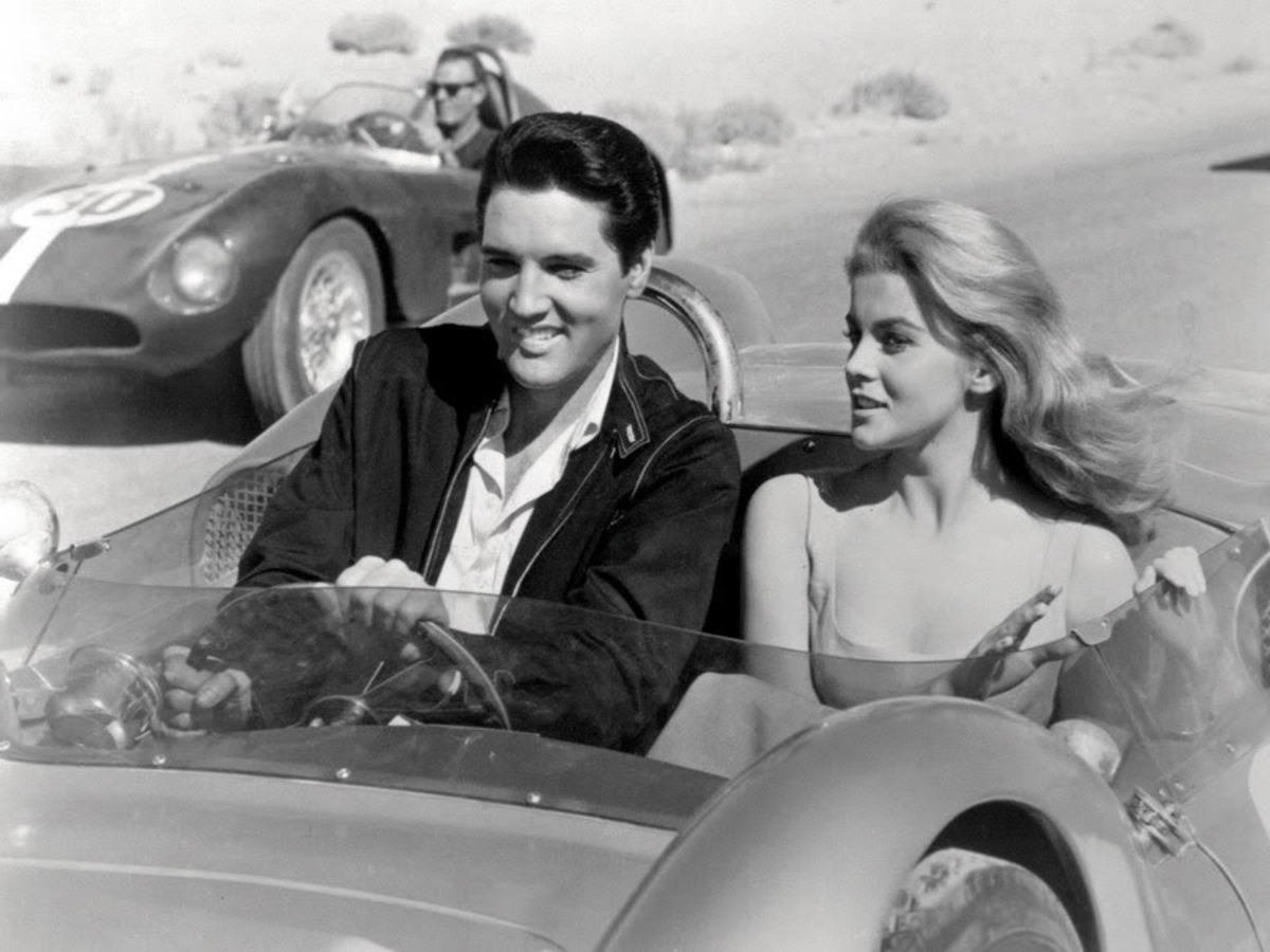 Elvis and Ann Margaret had a close relationship and fun together riding in fast cars.