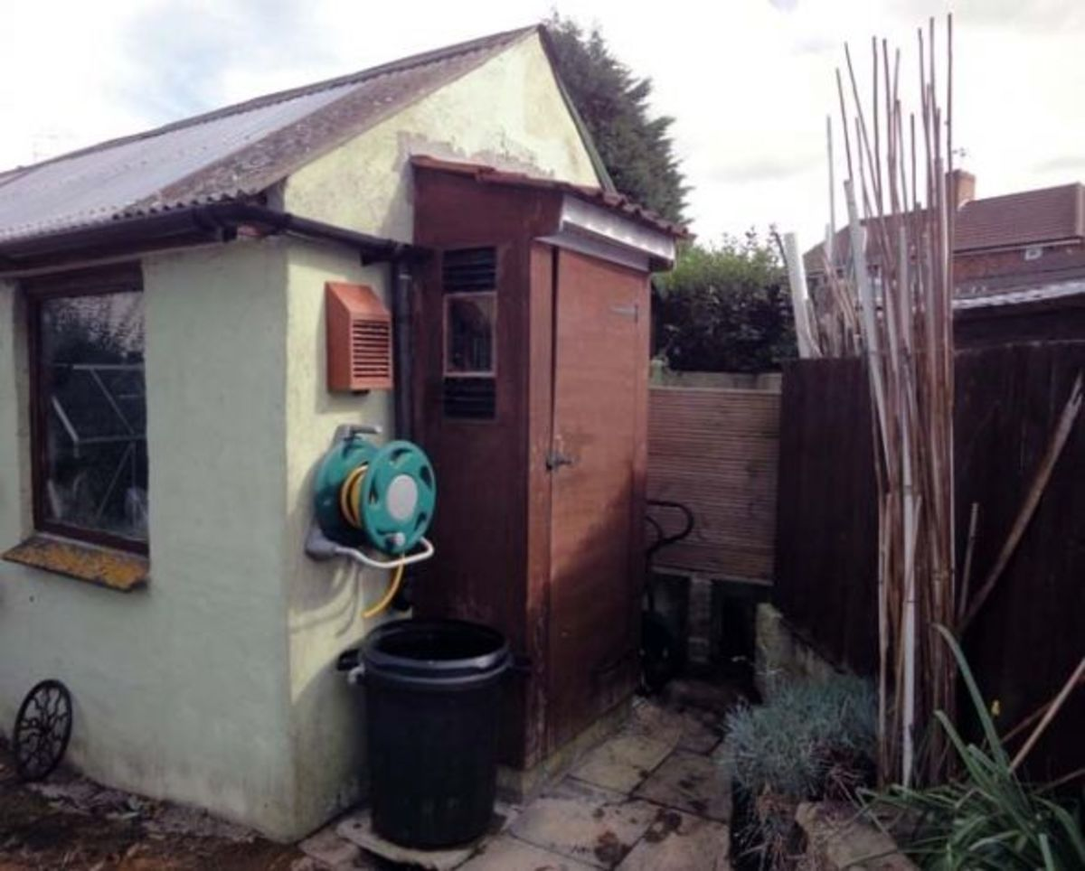 Also, hose pipe, water butt, compost bin, and a bugs hotel, occupying the available space behind the shed.