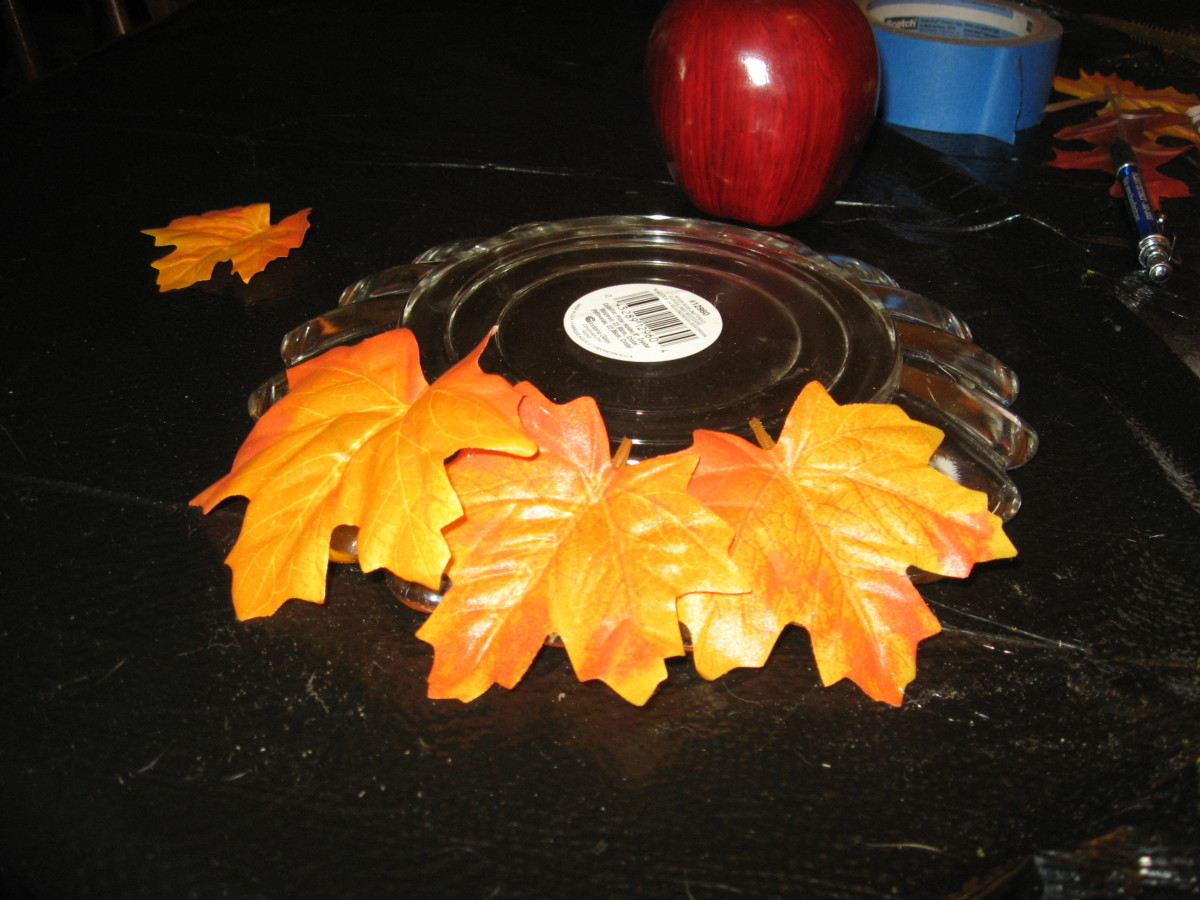 Invert plate and attach leaves with glue.
