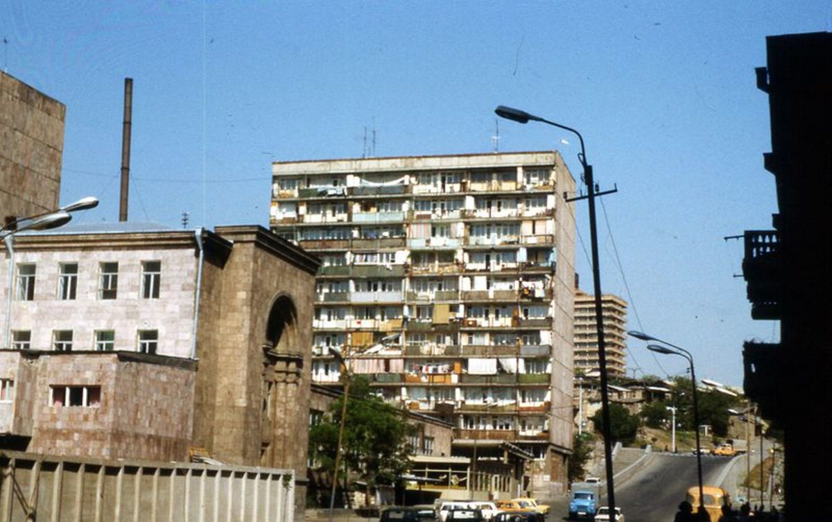 There are many rundown apartment buildings in Yerevan, Armenia