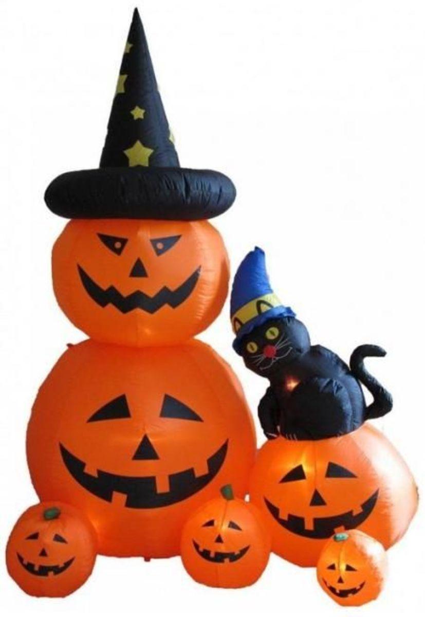 8 Foot Animated Halloween Inflatable Pumpkins & Cat