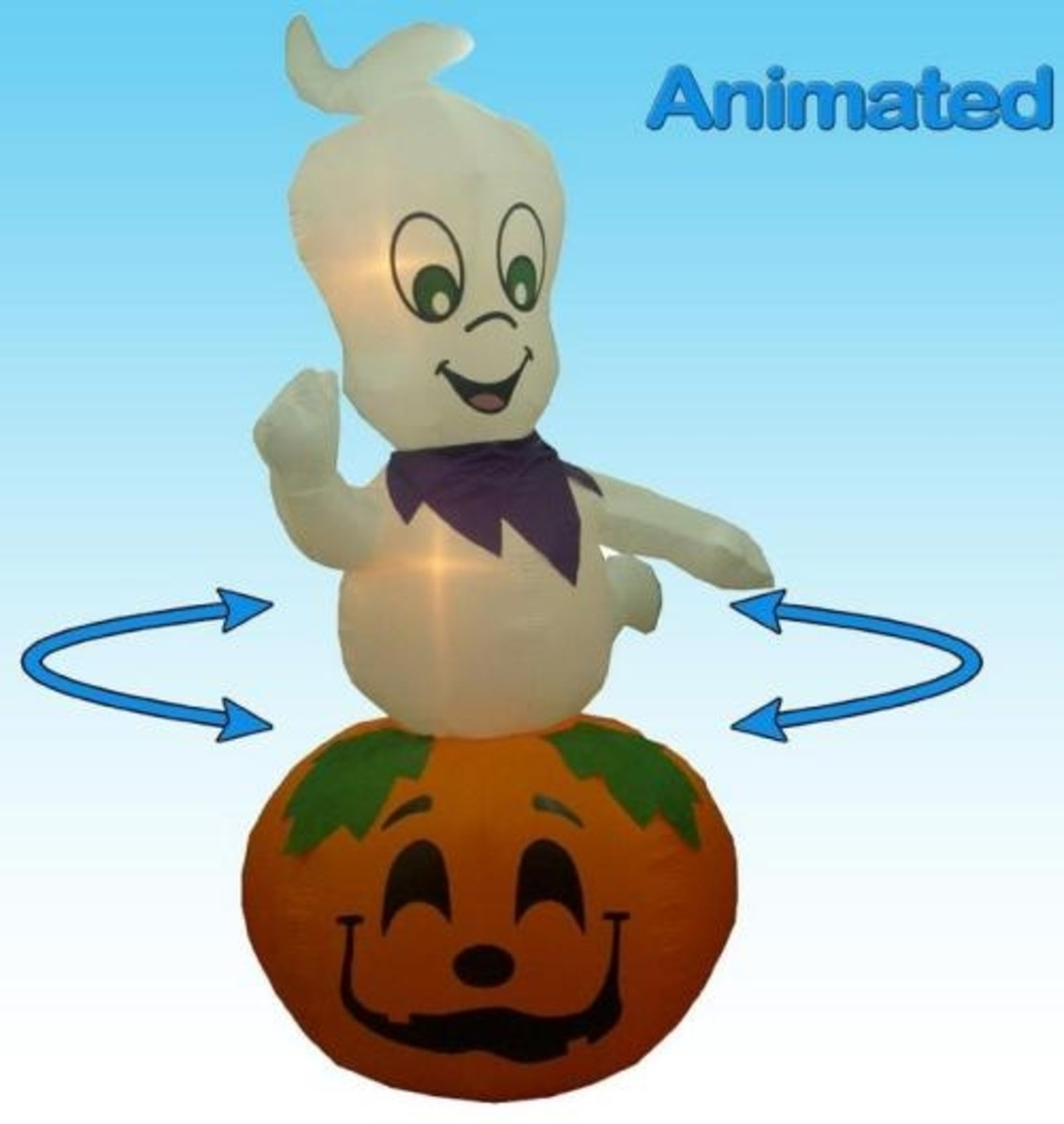 9 Feet Animated Halloween Inflatable Ghost on Pumpkin