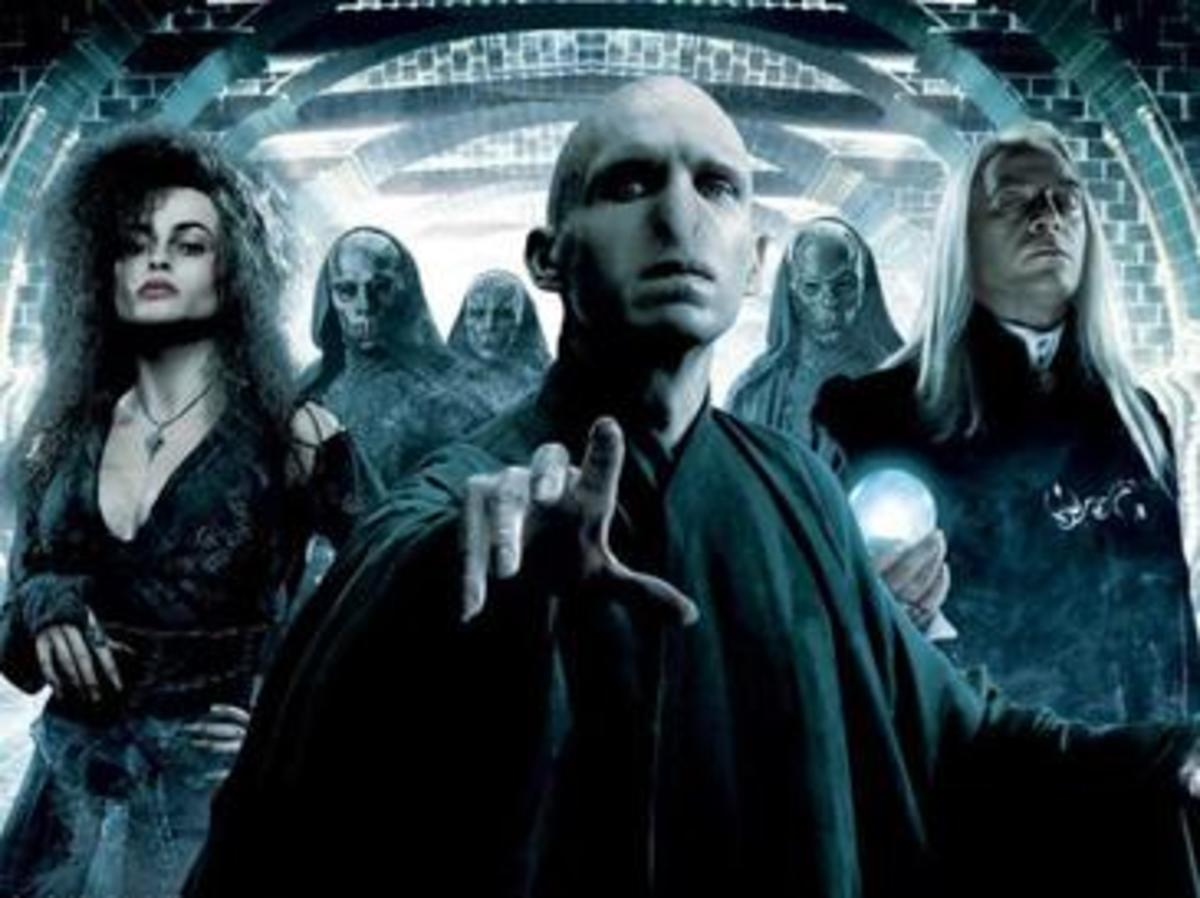Here is the witch, Bellatrix Lastrange, with Lord Voldemort and the Death Eaters from Harry Potter