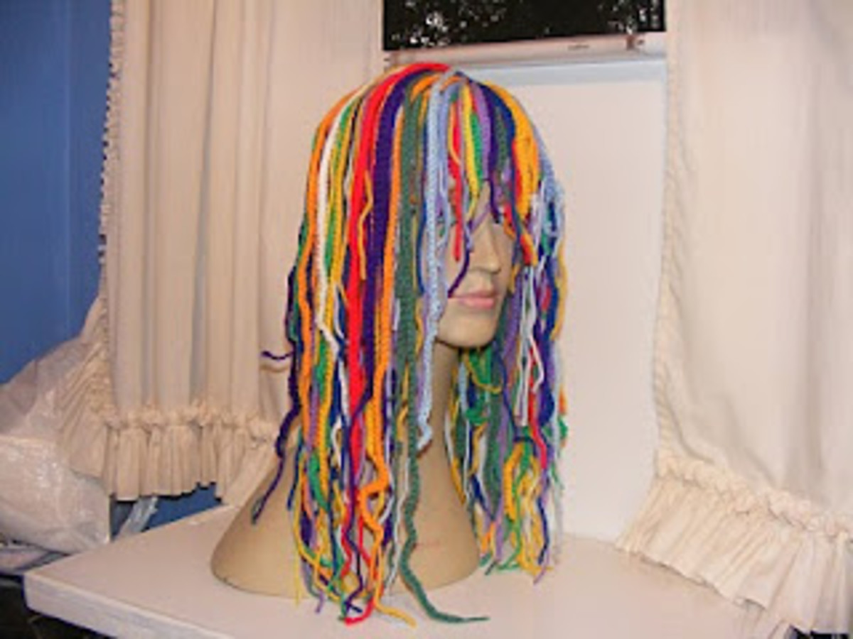 Multi-colored crochet wig