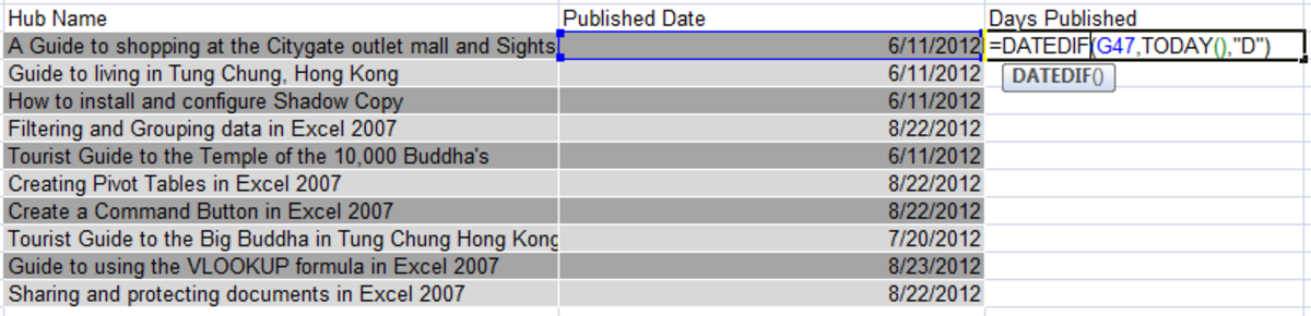 An example of the DATEDIF function in Excel 2007.