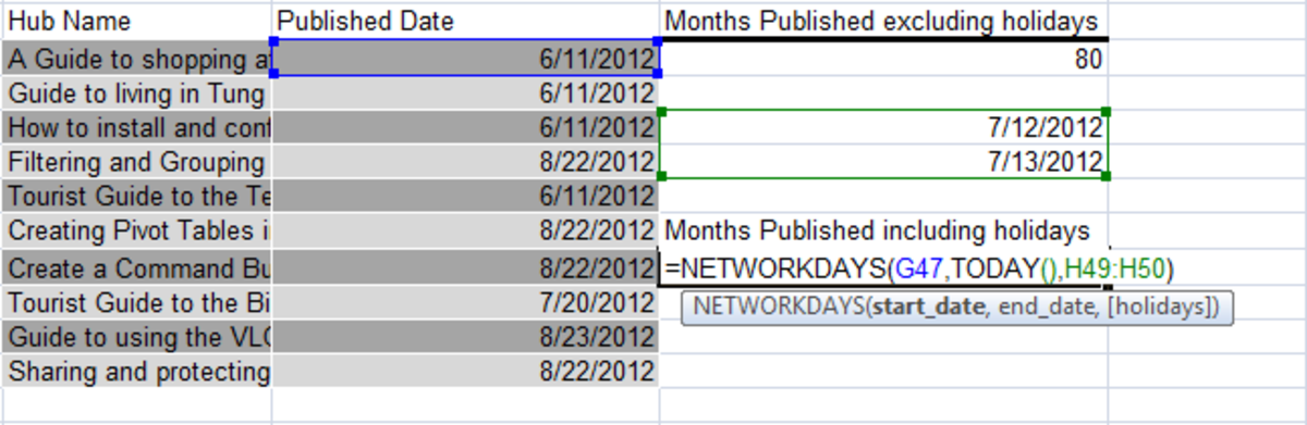 Examples of the NETWORKDAYS function in Excel 2007.
