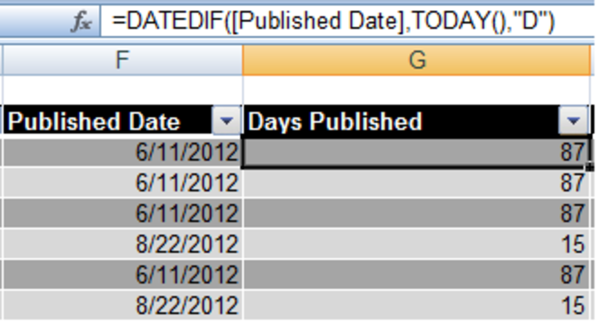 An example of the DATEDIF and TODAY() functions in a formula in Excel 2007.