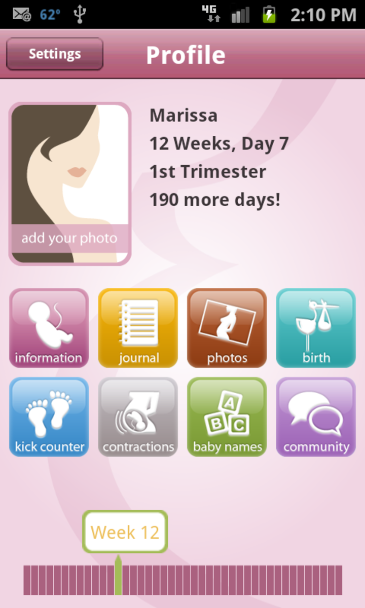 Screenshot of the BabyBump pregnancy app. It comes in both a free and paid version.