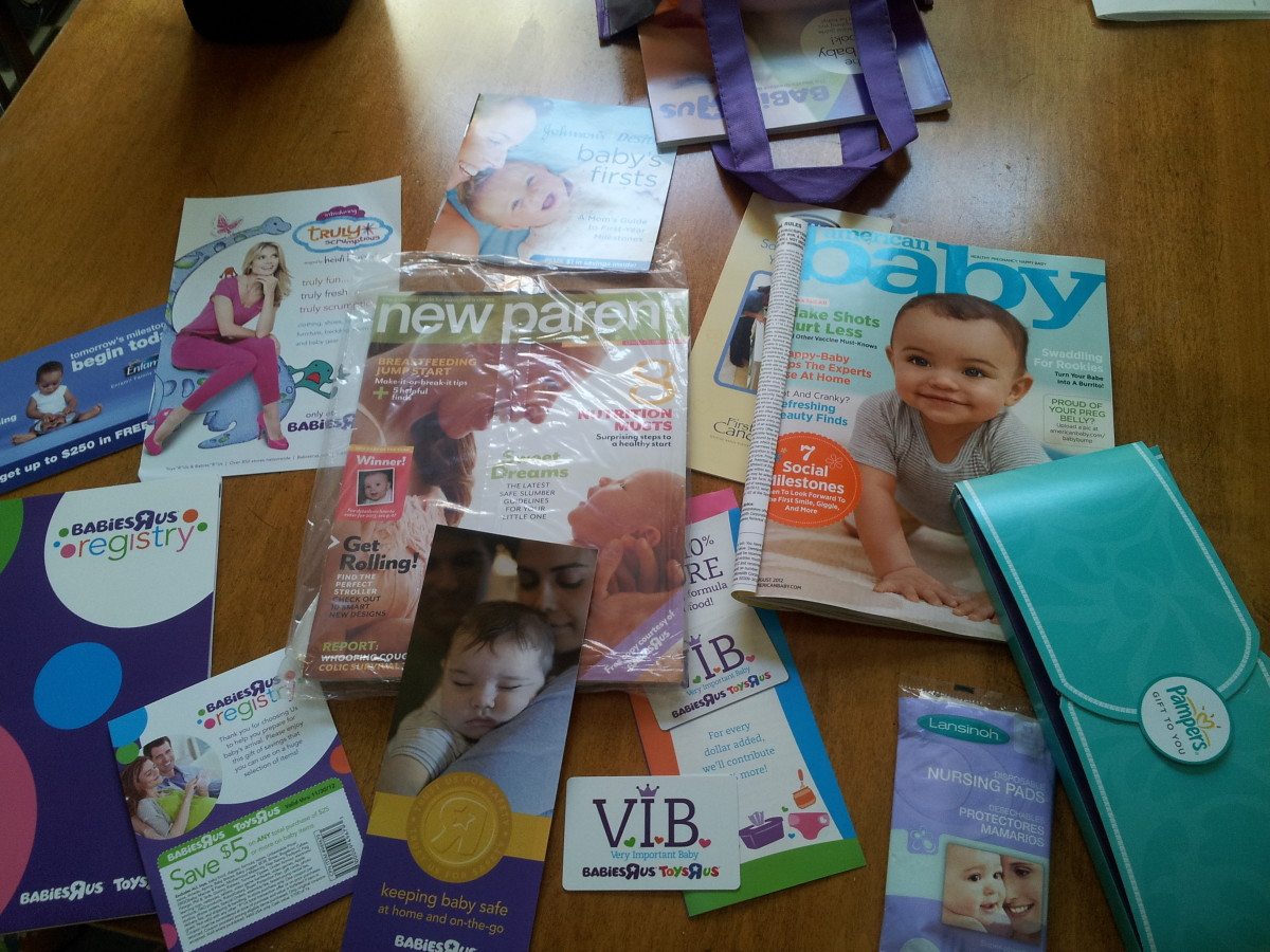All of the free baby samples and coupons from gift bags at Babies R' Us.