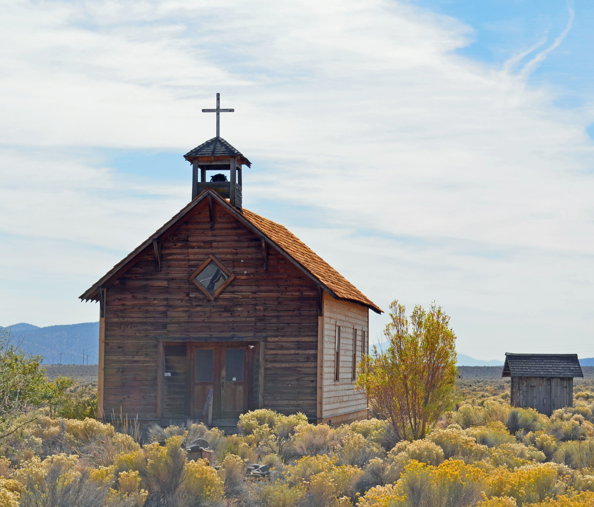 Old church located in the Fort Rock Museum property.