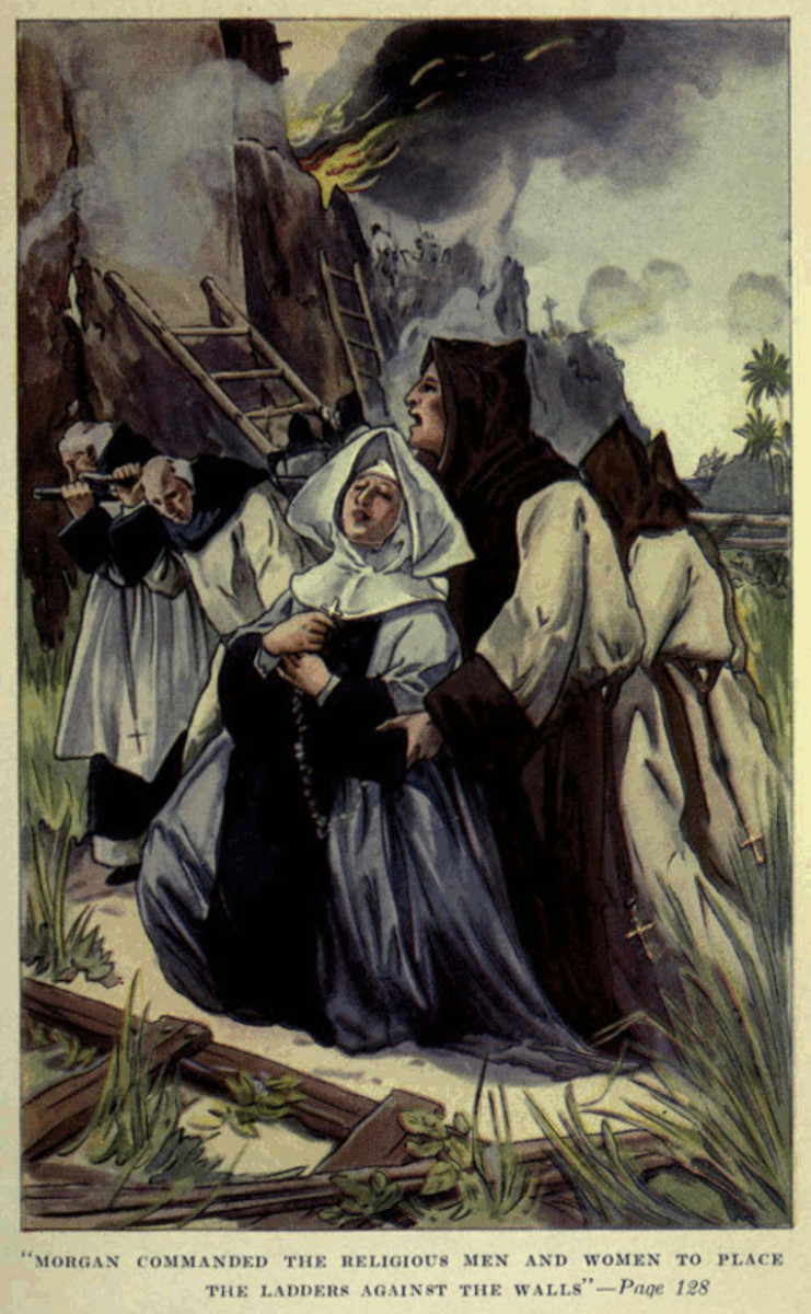 Illustration from Exquemelin's book, depicting Morgan's mistreatment of monks and nuns during the sacking of Porto Bello.