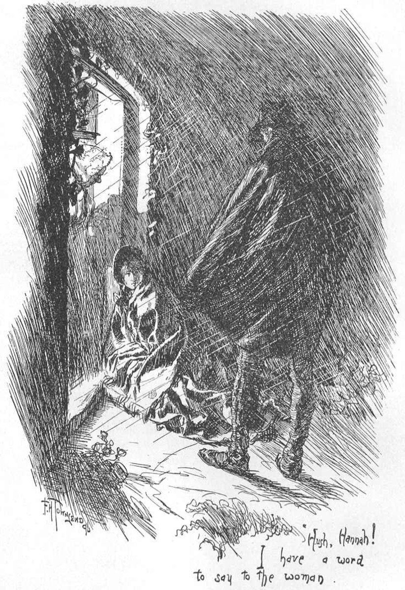 Sketch from Jane Eyre.  St. John Rivers finds Jane collapsed on the doorstep of his house on the Moors.