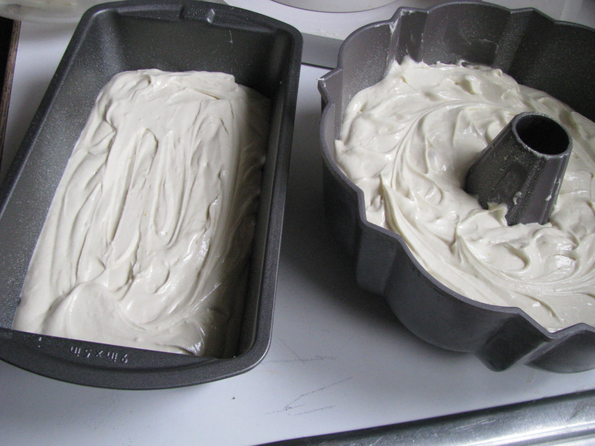 Use a pound cake pan, a bundt pan, or loaf pans to bake your cake