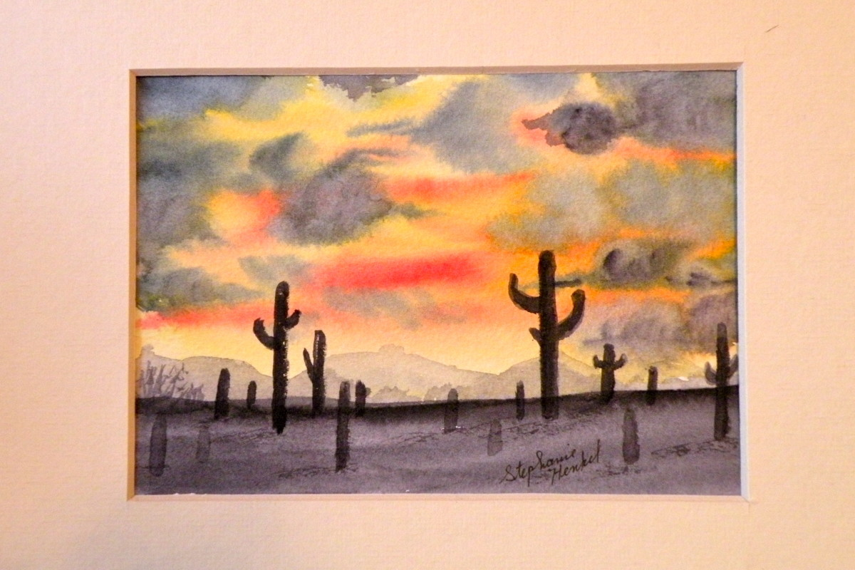 This watercolor of a desert sunset can be a beginner's watercolor project.