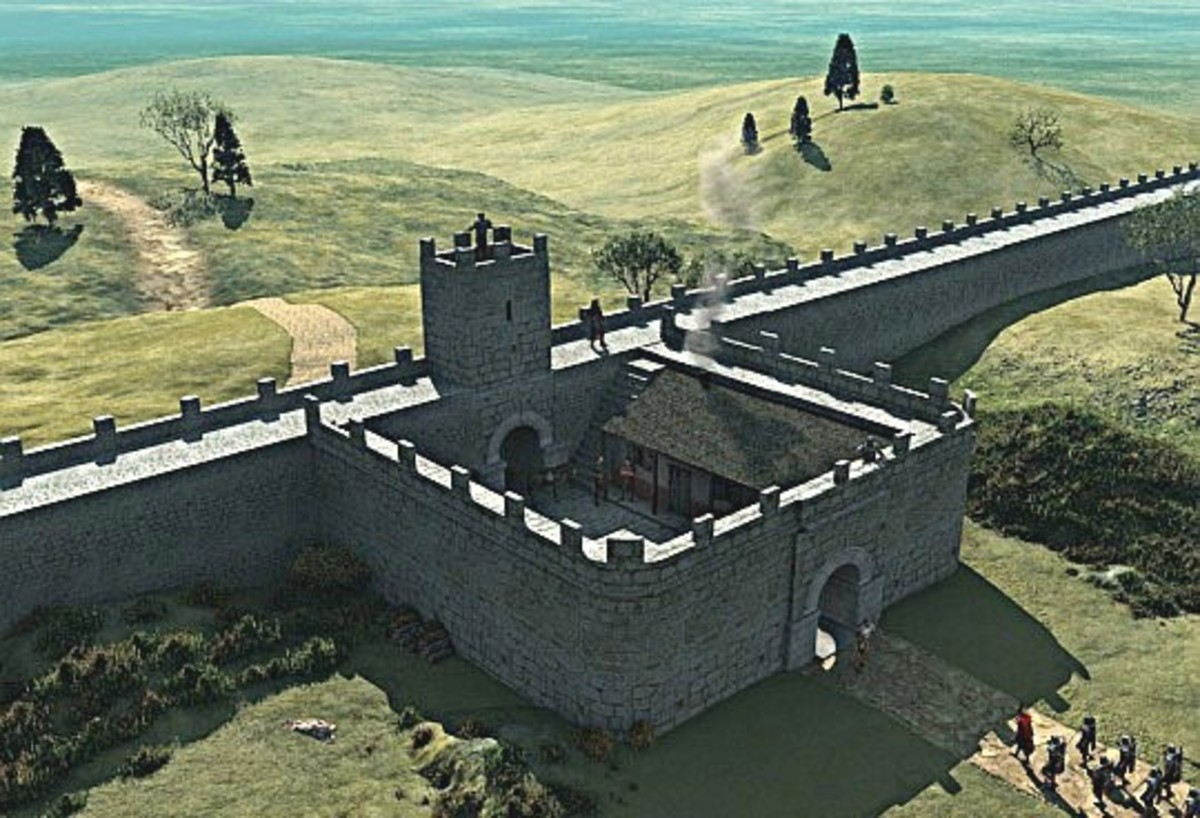 Milecastle reconstruction shows the double gateway construction to hinder attacks from the north (far side)