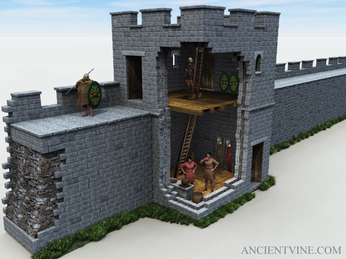 Cutaway section of a wall tower showing storage and access to the timber first floor deck and stone-faced wall walkway