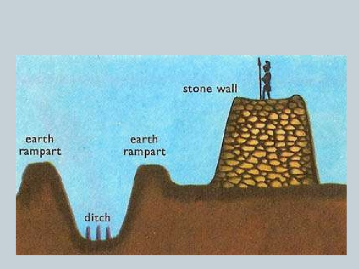 Cross-section of the wall and ditch formation facing north. Note the stakes pointed upward in the ditch and the rubble infill of the wall construction