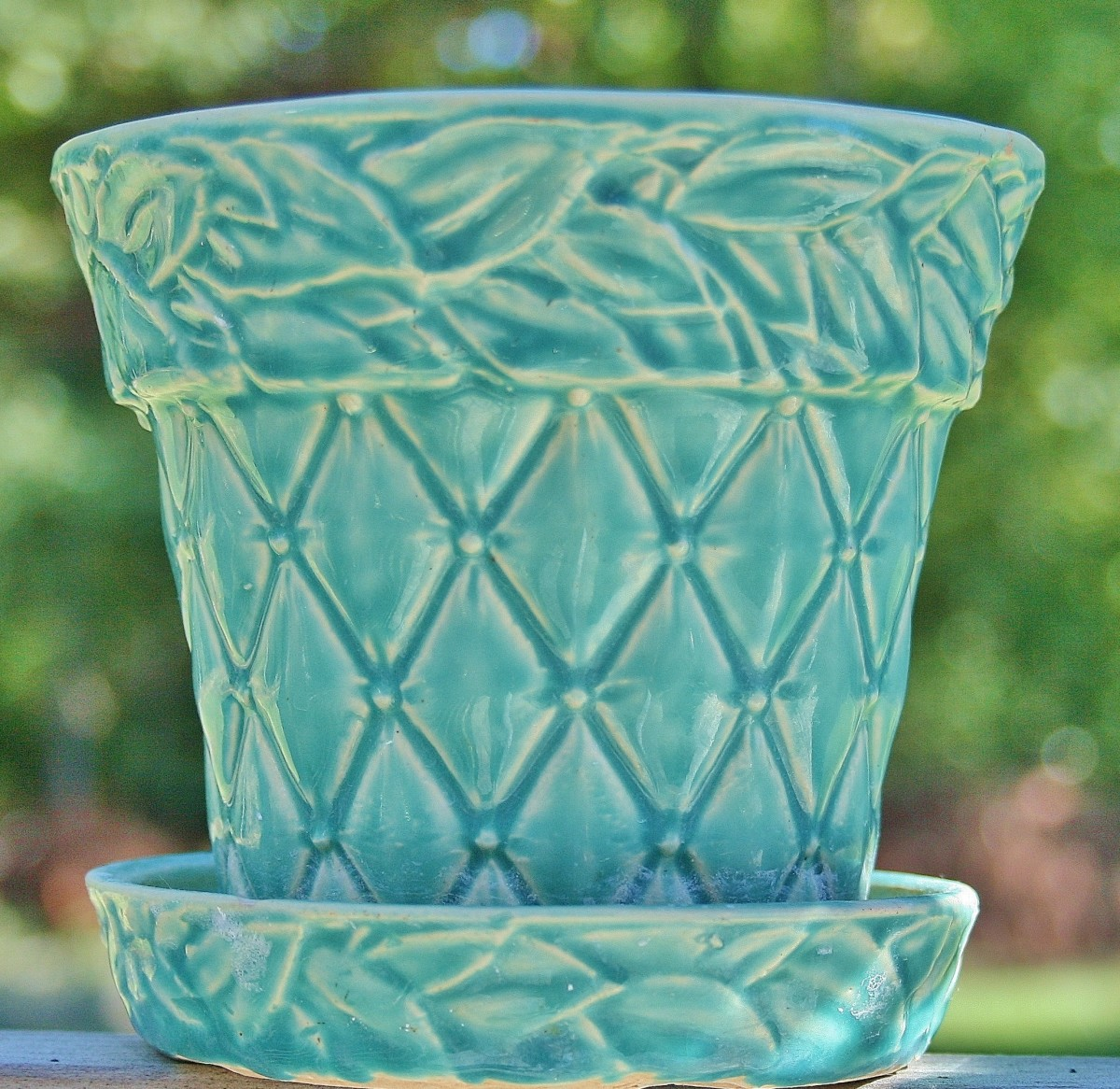 "A large vintage McCoy Flower Pot in the ""leaves & diamonds"" pattern."