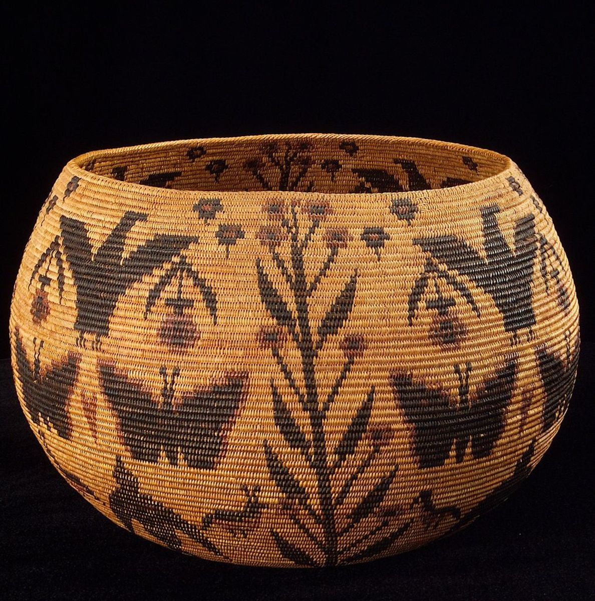 Basket made by Lucy Telles in the Smithsonian's National Museum of the American Indian.