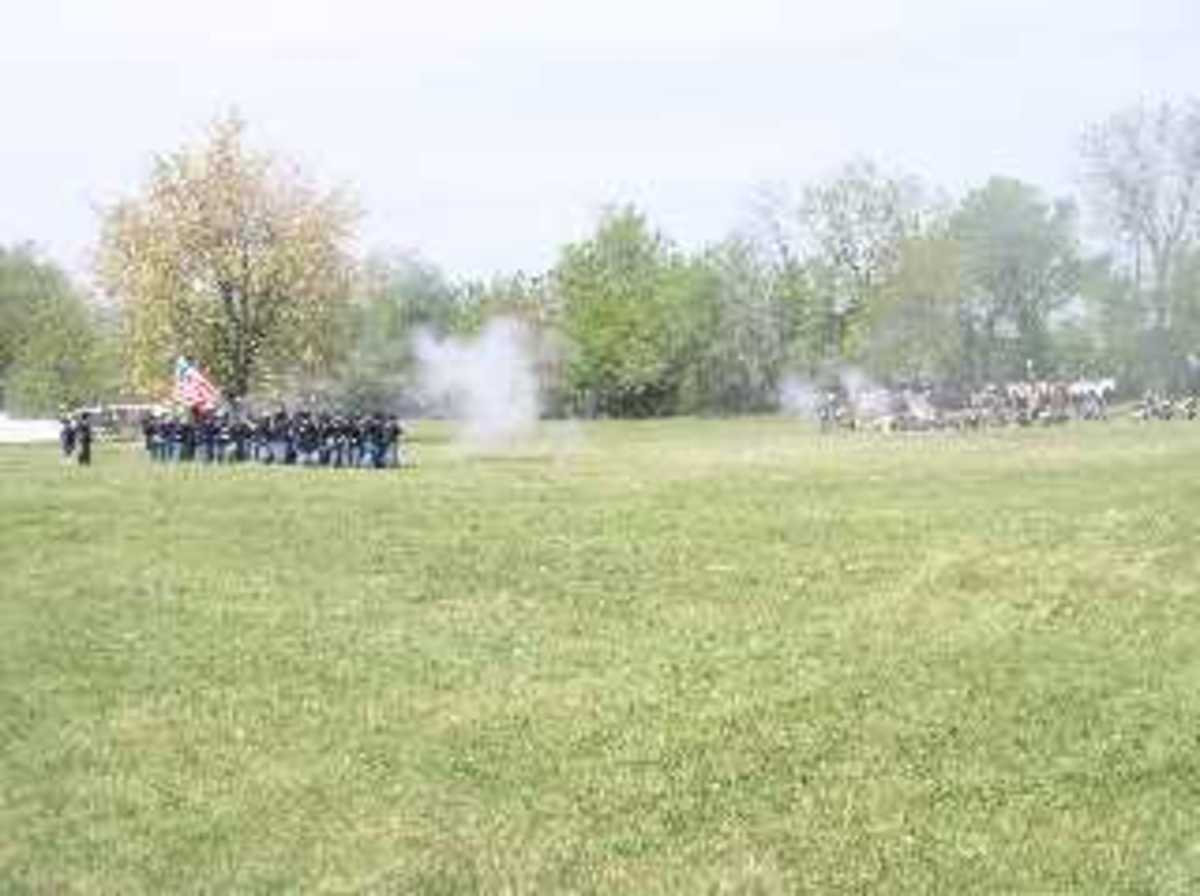 Infantry units engaged in an exchange of fire before the main attack at June 2006 Reenactment