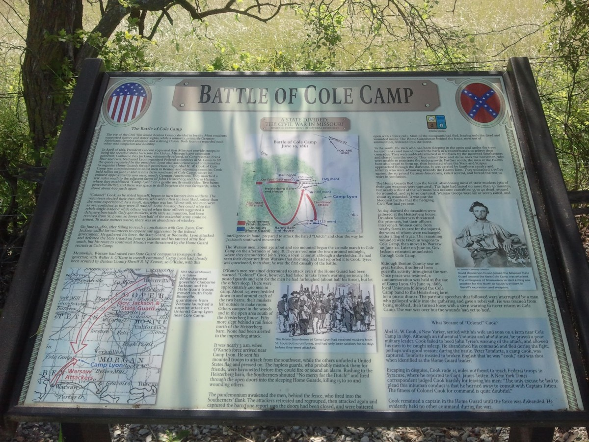 Historical Marker in Cole Camp, MO near the battlesite