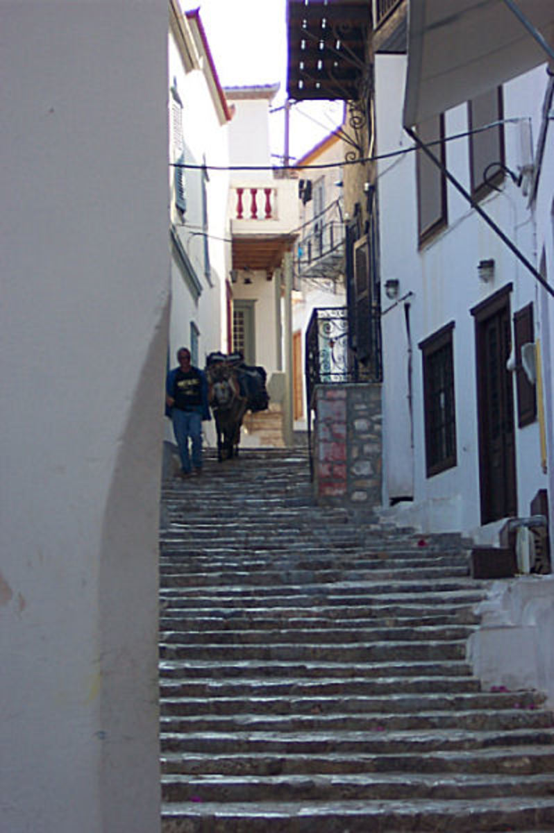 A typical street on the island of Hydra.