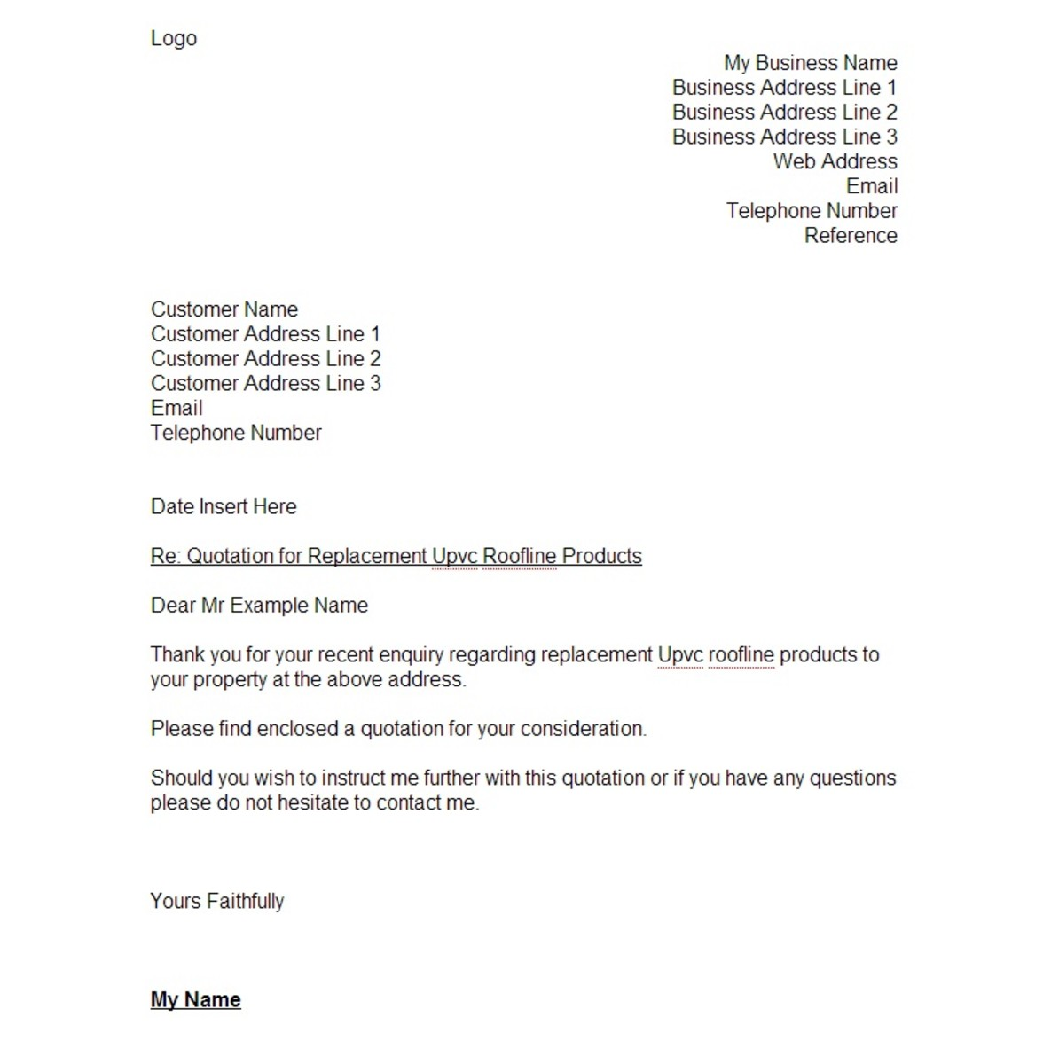 Page 1.  The cover page of a typical quotation letter I would send to a customer.