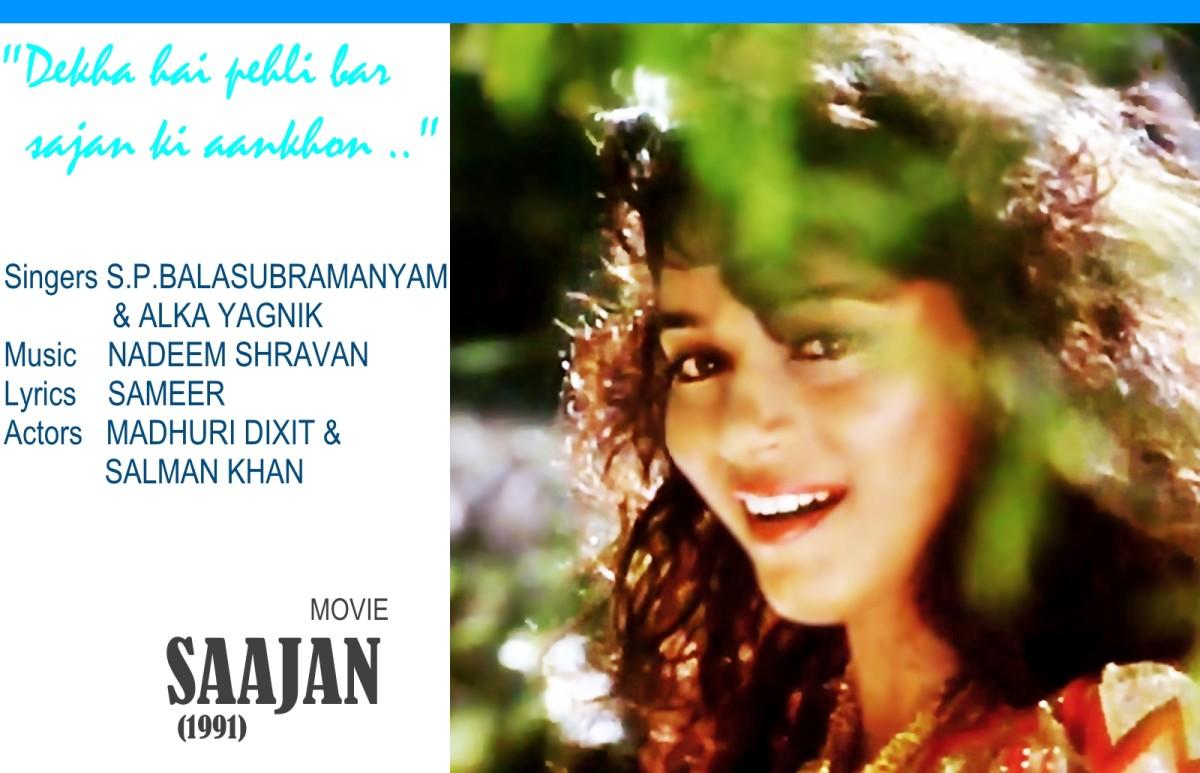"Madhuri Dixit featured in ""Dekha hai pehli baar"", a popular song based on Raag Darbari Kanada, from the movie 'SAAJAN' (1991)."