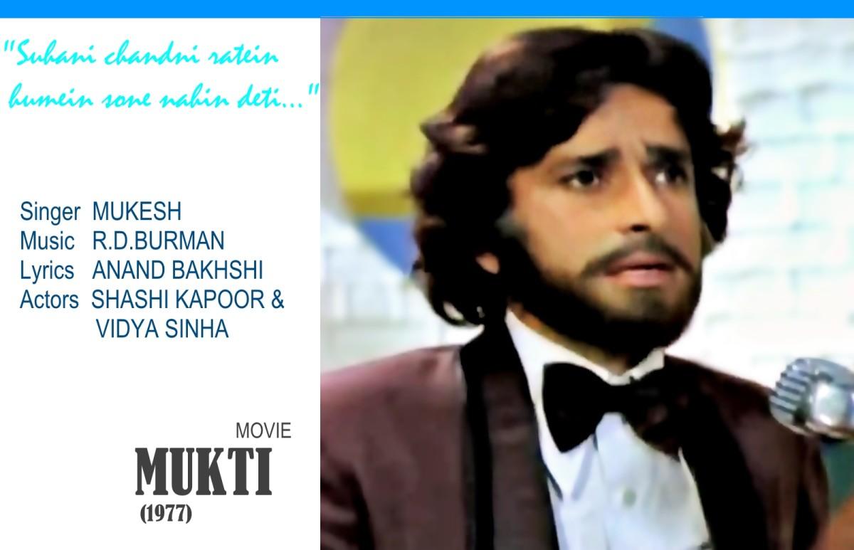 "Shashi Kapoor in ""Suhani chandni ratein.."", based on Raag Darbari Kanada, from the movie 'MUKTI' (1977)."