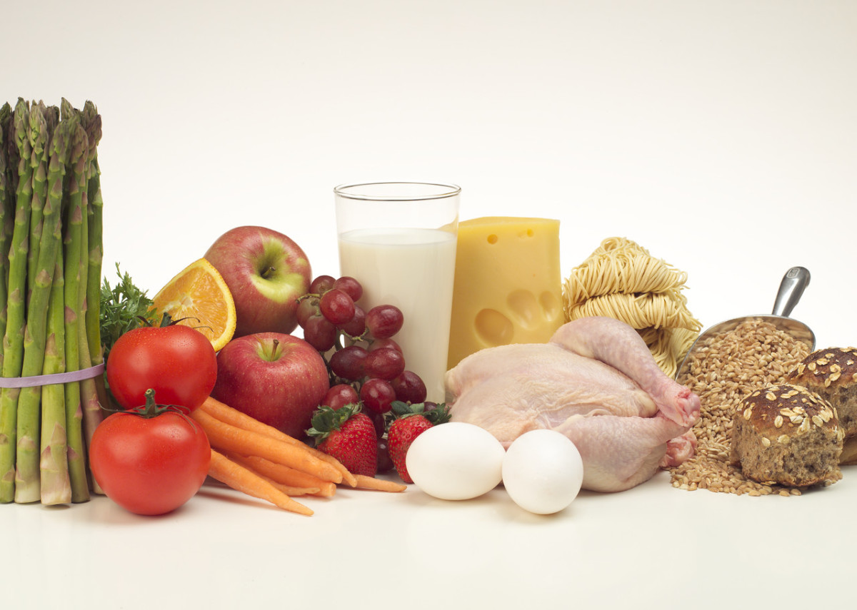 Collection of foods including chicken, vegetables and milk