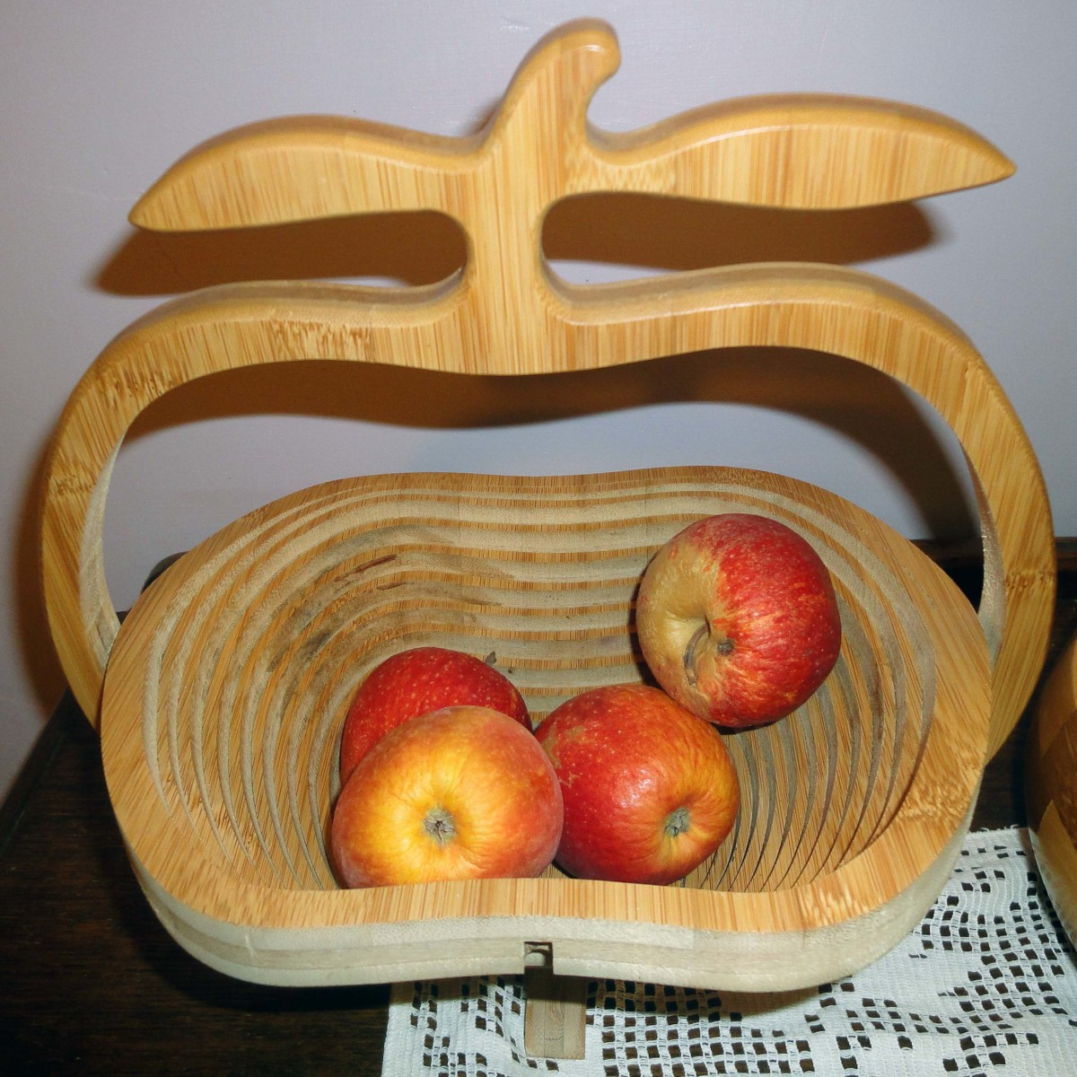 Carved handle and apples