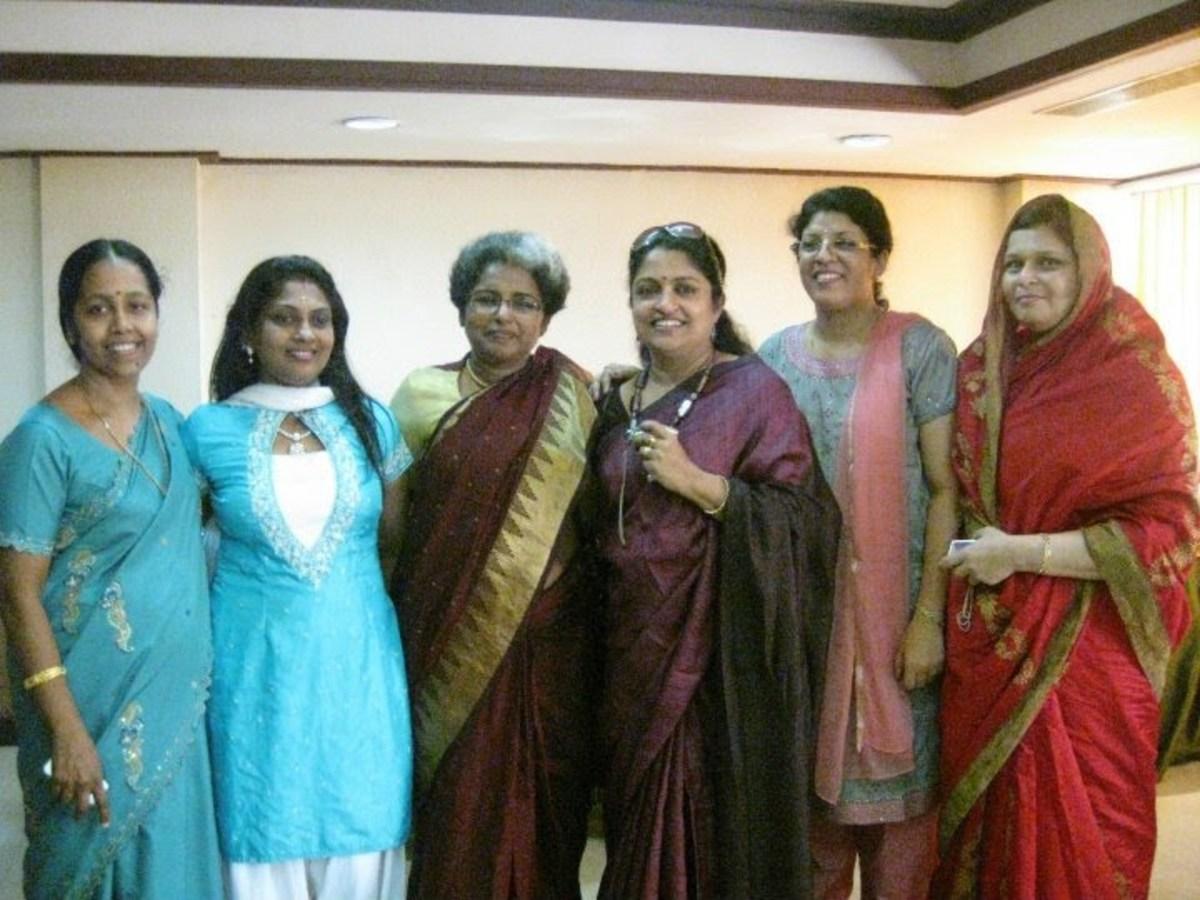 The Malayali women in cheerful mood...