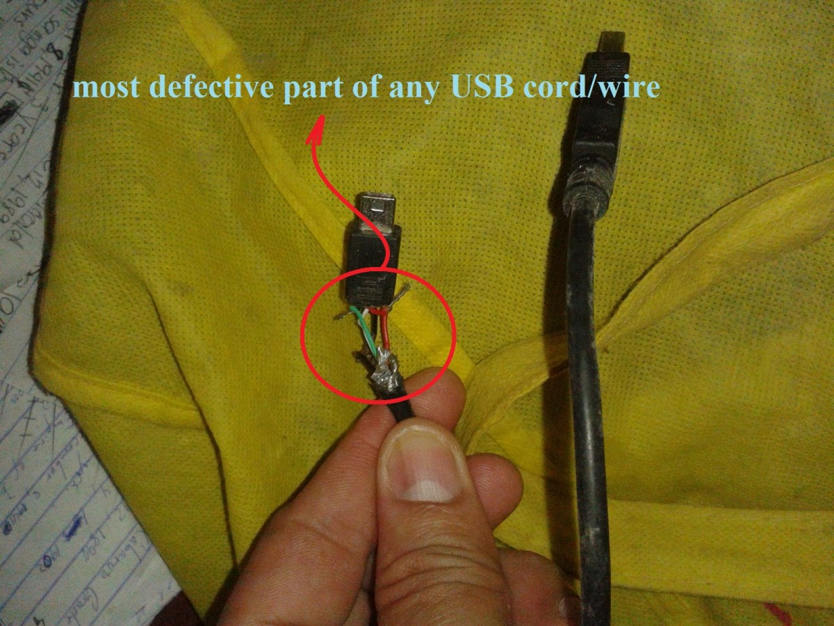 USB wire color code - The four wires inside. The most common USB problem.