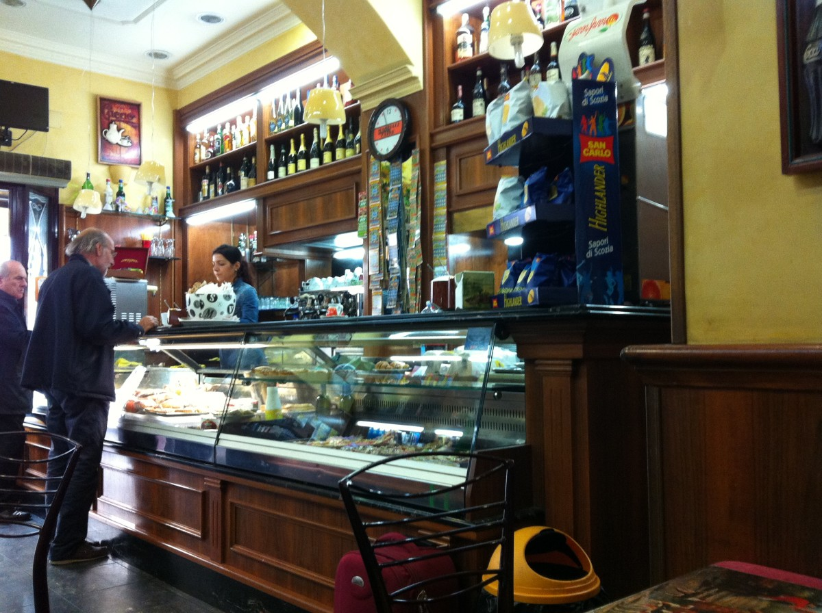 A coffee shop bar across from the church for a rest room break, a cappuccino or a phone call!